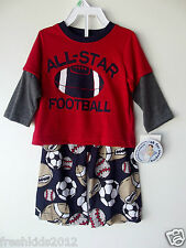 """Carter's Baby Boy Two-Piece """"Football"""" Poly Pajama Set NWT Size 12 Months B5545"""