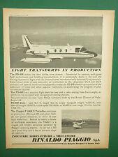 6/1969 PUB PIAGGIO P.166 PORTOFINO PD-808 AIRCRAFT AVION FLUGZEUG ORIGINAL AD