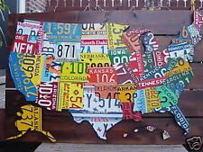 3D-USA LICENSE PLATE MAP ART -METAL WALL ART- ALL 50 STATES- (Pub Bar Art)