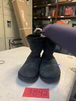 UGG Women's Suede Sheepskin Boots Black F19009C Size 8