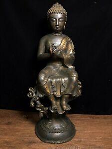 """23"""" Old Tibet Buddhism Temple Bronze Sakyamuni Shakyamuni Amitabha Buddha Statue"""