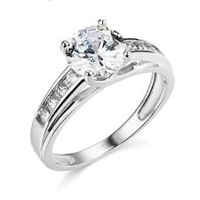 3 CT 14K real de corte brillante redondo anillo de compromiso de boda de oro blanco enrejado