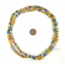 Multicolored African Sandcast Beads 7mm Ghana Round Glass 30-32 Inch Strand