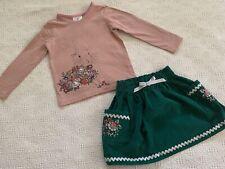 Hanna Andersson 100 Long Sleeve Top And Skirt Set Euc