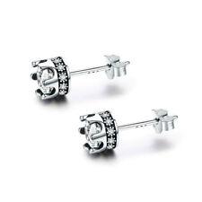 Christmas 925 Sterling Silver Crown Earrings Charm Zircon Beauty Women Jewelry