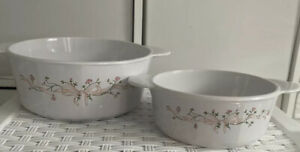 """Vintage Corning France Eternal Beau 8"""" & 6"""" Round Roasting Dishes With Handles"""