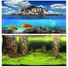 """19.3"""" x 48"""" Double Sided Fish Tank Aquarium Background Forest / Three Fishes"""