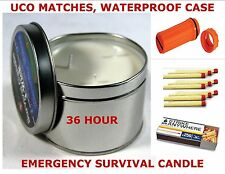 EMERGENCY SURVIVAL CANDLE KIT 36HR CANDLE UCO MATCHES WATERPROOF MATCH CONTAINER