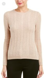 NWT $398 Brooks Brothers Sand Oatmeal Beige 100% Cashmere Cable Crew Sweater S
