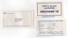 1978 BRUCE SMATHERS Florida Governor POLITICAL Palm POLL Card Lot GEORGE Yale FL