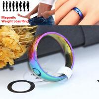 2Pcs 16-13mm Rainbow Ring Titanium Steel Ring Lose Weight Slim Ring Magne d、