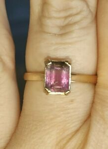Emerald cut natural pink watermelon tourmaline ring solid 9ct gold size N vtg
