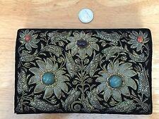 Vintage Japan Made Velvet Wallet Purse with Gemstones