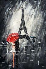RANYA Large Romantic Paris Modern Hand-painted Art Oil Painting No Frame 20x28in