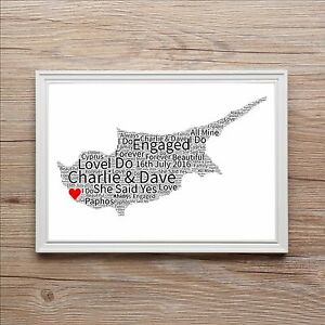 Engagement Word Art Gift Map Of Love Anniversary Wedding Present CYPRUS  Any
