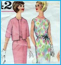 "EASY Vintage 60s SLIM DRESS & JACKET Sewing Pattern Bust 36"" 92 cm RETRO Evening"