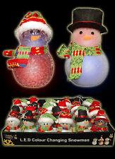 3 LED Christmas LED Decorations Change Colour Snowmen Favours Stocking filler