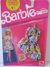 BARBIE FASHION FAVORITES ~1990 ~ BLUE w/YELLOW & PURPLE FLORAL PRINT DRESS ~ NEW