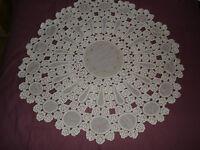 #407 Beautiful Vintage Handmade Tablecloth  115cm(45'')