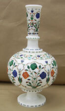 """11"""" White Marble Vase Flowers Multi Inlay Gems Mosaic Living Home Gifts H2091"""
