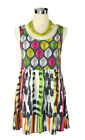 SPORTSGIRL Mini Dress- Leaf Print Tie Dye White Pink Green Orange Boho Hippy - 8