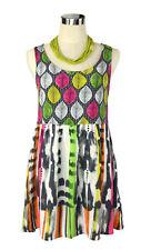 SPORTSGIRL Mini Dress- Leaf Print Tie Dye White Pink Green Orange Boho Hippy - 8