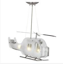Searchlight LED Helicopter Kinderlampe Silber Satin Milchglas Pendelleuchte NEU