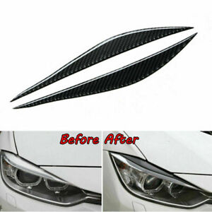 Carbon Fiber Headlight Eyelid Eyebrow Cover Trim For BMW 3 Series F30 2012-2018