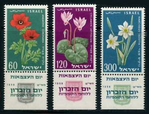 Israel: 1959 Flowers (157-159) With Tabs MNH