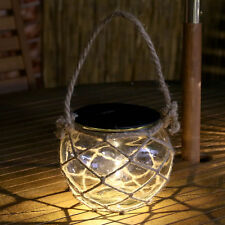 SOLAR POWERED GLASS OUTDOOR GARDEN NAUTICAL ROPE CANDLE HOLDER LED LANTERN LIGHT