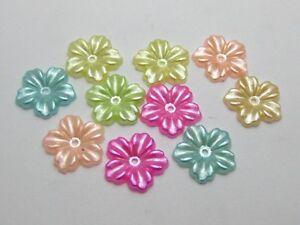 200 Mixed Color Pearl flower Beads Flat Back 12mm Scrapbook Flower Embellishment