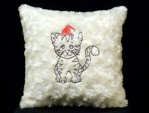 New Embroidered Ivory Baby Tiger Pillow Christmas Pillow New 12 x 12 in insert