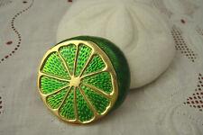 VINTAGE CROWN TRIFARI GOLD TONE GREEN ENAMEL SLICE OF LIME PIN BROOCH