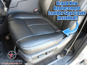 2015 2016 F250 350 Lariat-Driver Side Bottom PERFORATED Leather Seat Cover Black