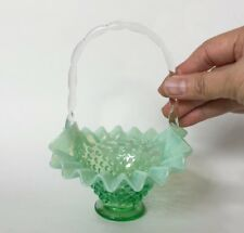 Lovely *rare* Fenton Hobnail Willow Green Crest Opalescent Basket Glass