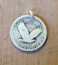 Standing Liberty Quarter 90% SILVER Eagle Pendant Coin Jewelry-ANTIQUE Vintage