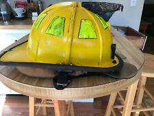 Cairns 1044 Yellow Helmet Firefighter Helmet MSA Bourke Eyeshield Leather Liner