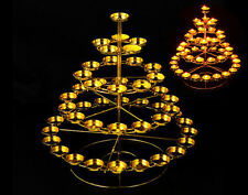 Tibet Buddhist Butter Light Candles Lamp Holder Tower 49 Piece Set Gold Plated