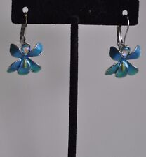 Kirks Folly African Queen Orchid Aqua Lever Back Earrings In Silver Tone