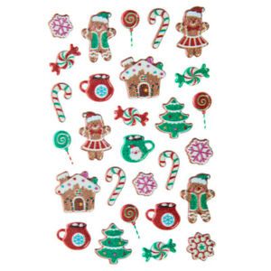 Holiday Xmas Gingerbread Glitter Puffy Stickers Planner DIY Craft Winter