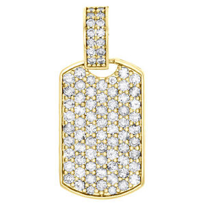"10K Yellow Gold Round Diamond Dog Tag Fully Iced Pendant 1.35"" Charm 2.22 CT"