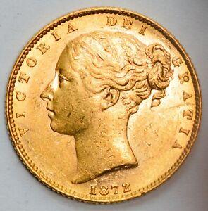 HIGH GRADE 1872 Queen Victoria Gold Shield Sovereign -  Die Number 49