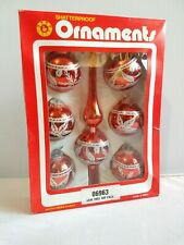 Vintage Swan Christmas Tree Decorations Baubles Ornaments Shaterproof Red Boxed