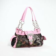 Mossy Oak Camo Pink Buckle Rhinestone Purse, Camouflage Shoulder Handbag