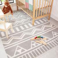 Grey Kids Rugs Scandi Tribal Geometric Boys Girls Bedroom Soft Nursery Play Mats