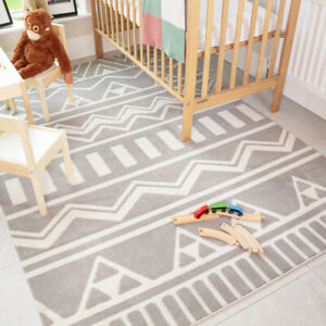 Grey Kids Rugs Scandi Tribal Geometric Boys Girls Bedroom Soft Nursery Play Mats