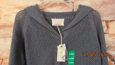 NWT LADIES SHIRT 469 CHARCOAL LOOSE WEAVE SIZE XL W/ HOOD V-NECK- GRAY Linen bl