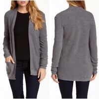 "Theory Women's Medium Gray Wool ""Giana Harmony"" Open Sweater Cardigan P/XS"