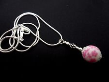 "A LOVELY SILVER PLATED PINK/WHITE PORCELAIN  BEAD  NECKLACE ON 18"" CHAIN. NEW."