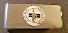 "FORD MUSTANG CHROME RED BLUE WHITE Logo Stainless Steel Money Clip 2 3/8"" X 1"""